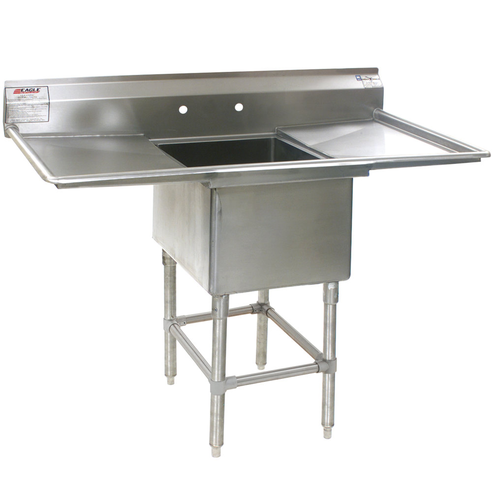 "Eagle Group FN2016-1-18-14/3 One 20"" x 16"" Bowl Stainless Steel Spec-Master Commercial Compartment Sink with Two 18"" Drainboards"