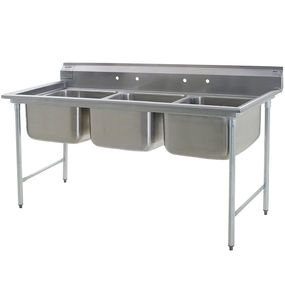 Eagle Group 314-22-3 Three Compartment Stainless Steel Commercial Sink ...