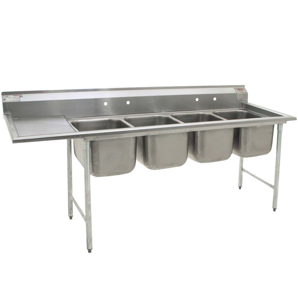 Eagle Group 314-18-4-18 Four Compartment Stainless Steel Commercial Sink with One Drainboard - 100 3/4""