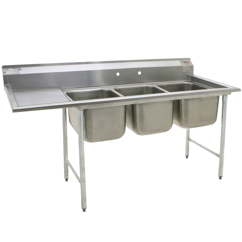 Eagle Group 314-22-3-24 Three Compartment Stainless Steel Commercial Sink with One Drainboard - 99""