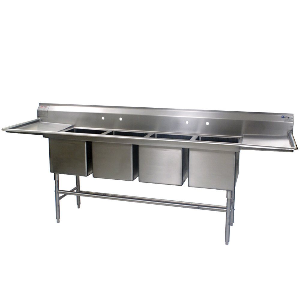 "Eagle Group FN2496-4-24-14/3 Four 24"" x 24"" Bowl Stainless Steel Spec-Master Commercial Compartment Sink with Two 24"" Drainboards"