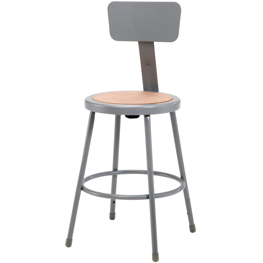 "National Public Seating 6224B 24"" Gray Round Hardboard Lab Stool with Adjustable Backrest"