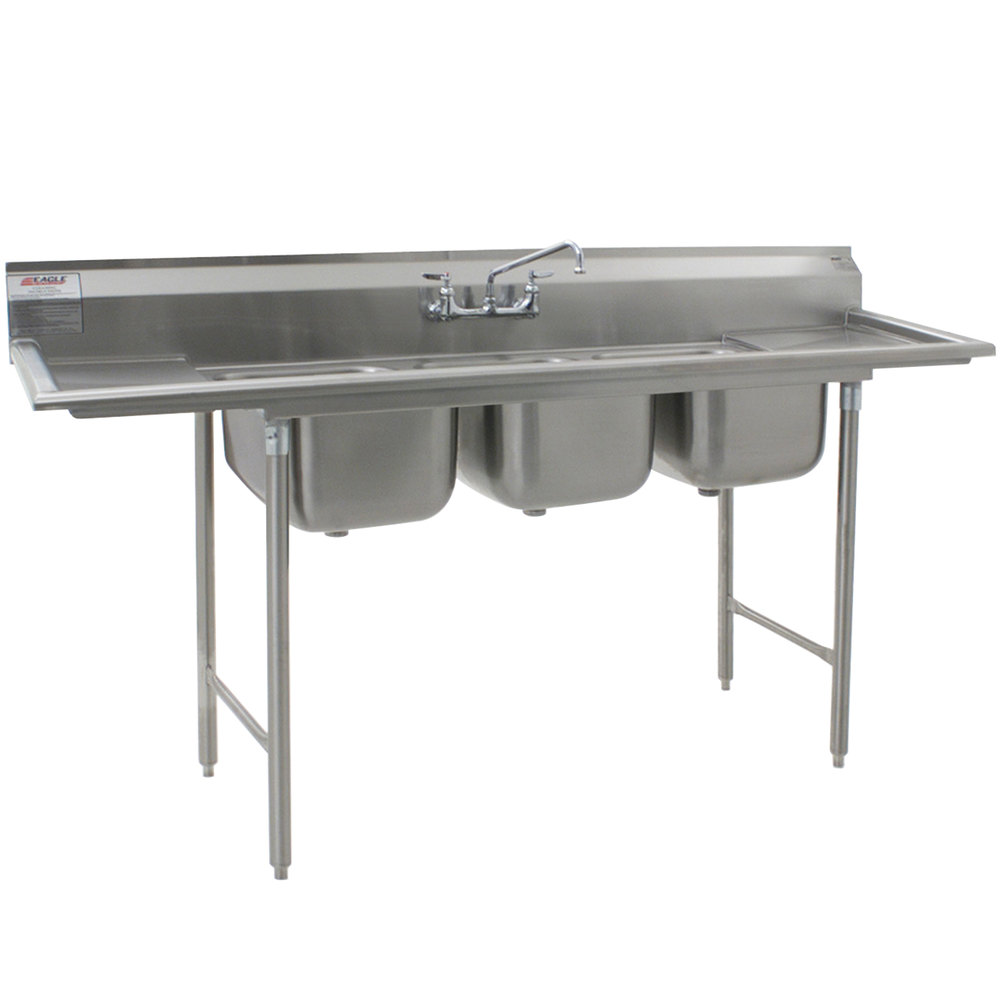 "Eagle Group 312-12-3-12 Three 20"" x 12"" Bowl Stainless Steel Commercial Compartment Sink with Two Drainboards"