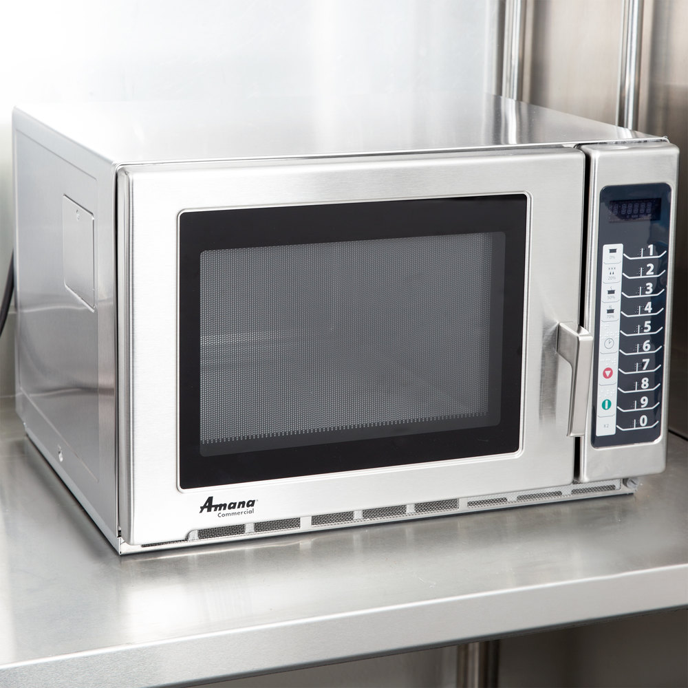 Amana Rfs12ts Medium Duty Stainless Steel Commercial Microwave With Push On Controls 120v 1200w