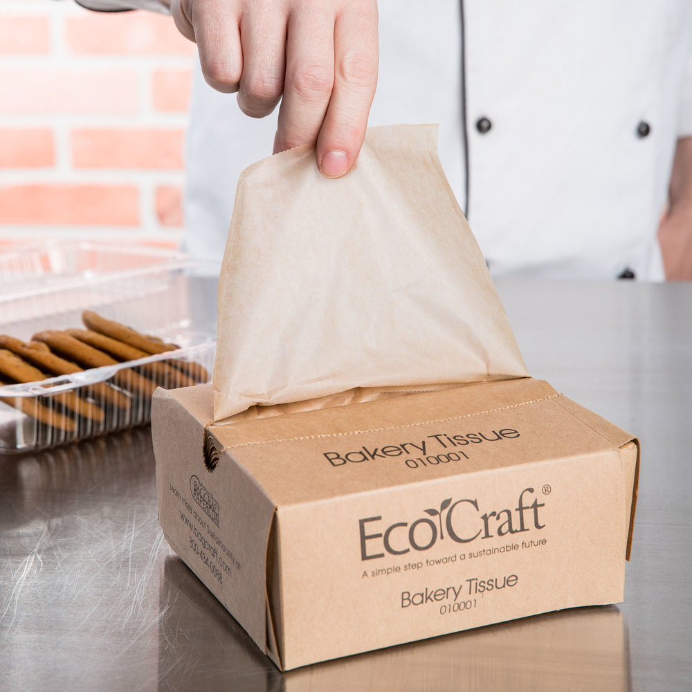 "Box of 1000 Bagcraft Papercon 0- 10001 10 3/4"" x 6"" EcoCraft Bakery Tissue"