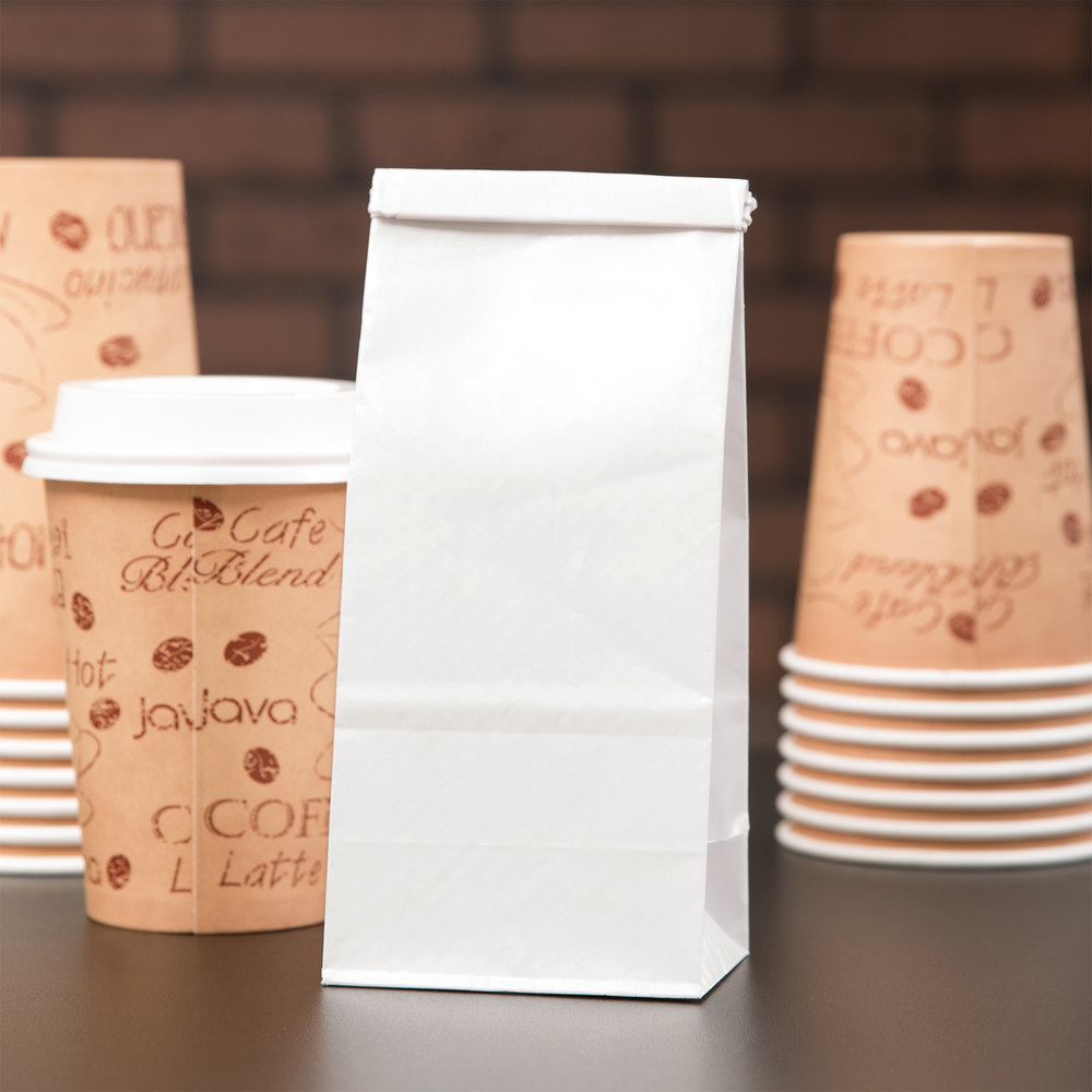 1/2 lb. White Customizable Paper Coffee Bag with Reclosable Tin Tie - 100/Pack