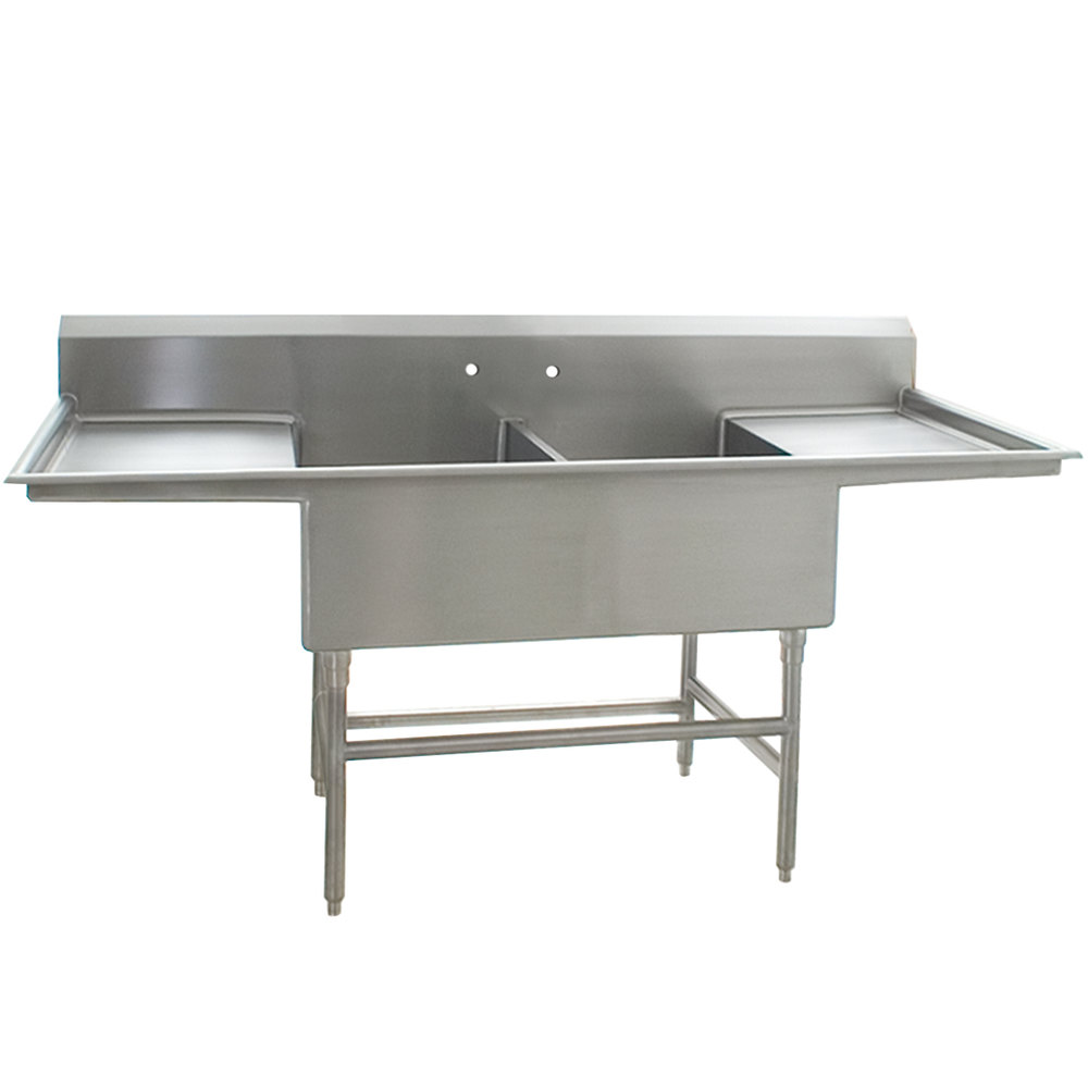 "Eagle Group FFN2760-2-30-14/3 Two 27"" x 30"" Bowl Stainless Steel Spec-Master Flush Front Commercial Compartment Sink with Two 30"" Drainboards"