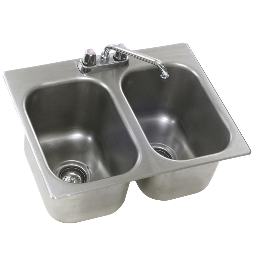 "Eagle Group SR10-14-9.5-2 Two Compartment Stainless Steel Drop-In Sink with Deck Mount Faucet and Swing Nozzle - 10"" x 14"" x 9 1/2"" Bowls"