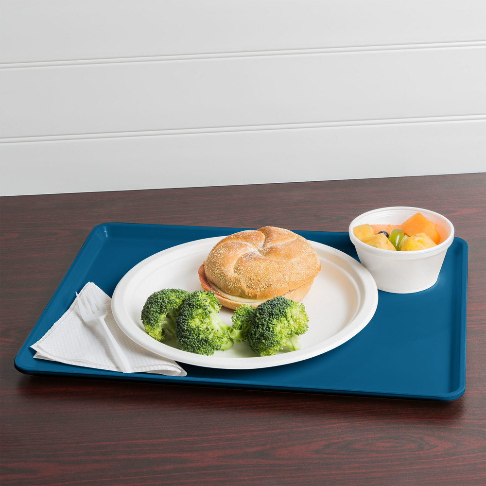 "Cambro 1216D123 12"" x 16"" Amazon Blue Dietary Tray - 12/Case"