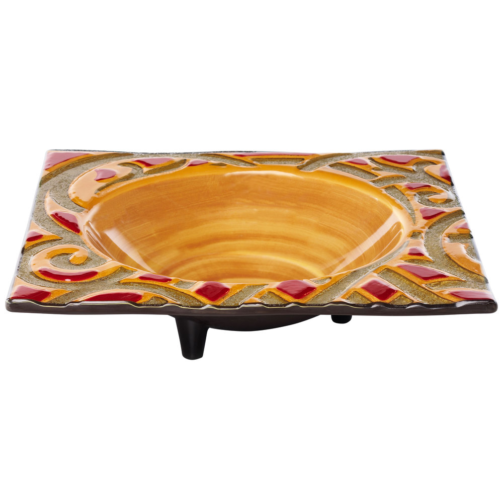 Elite Global Solutions V13133 Artist 1.75 Qt. Square Bas-Relief Scroll Pattern Melamine Bowl with Legs