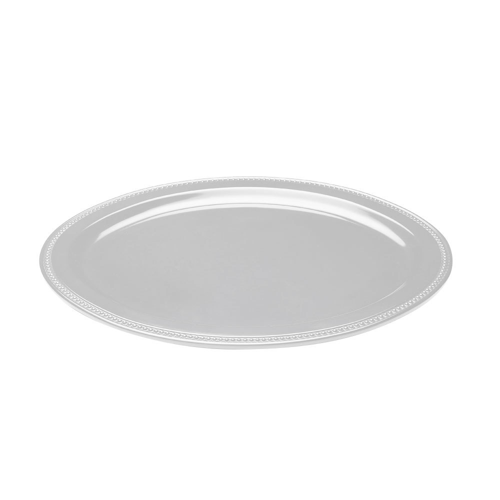 "Elite Global Solutions M17OV Venetian Display White 16"" x 13"" Oval Melamine Platter"
