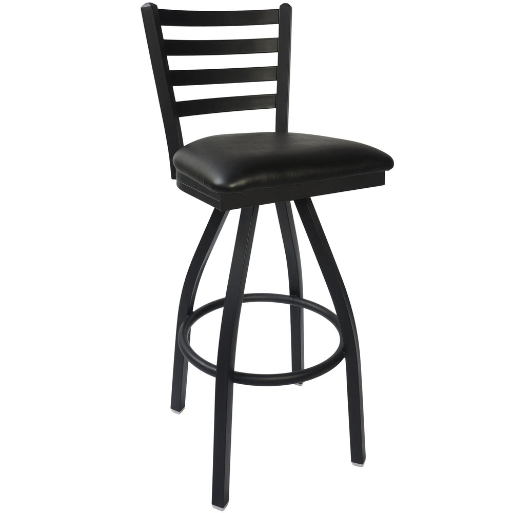 "BFM Seating 2160SBLV-SB Lima Sand Black Steel Bar Height Chair with 2"" Black Vinyl Swivel Seat"