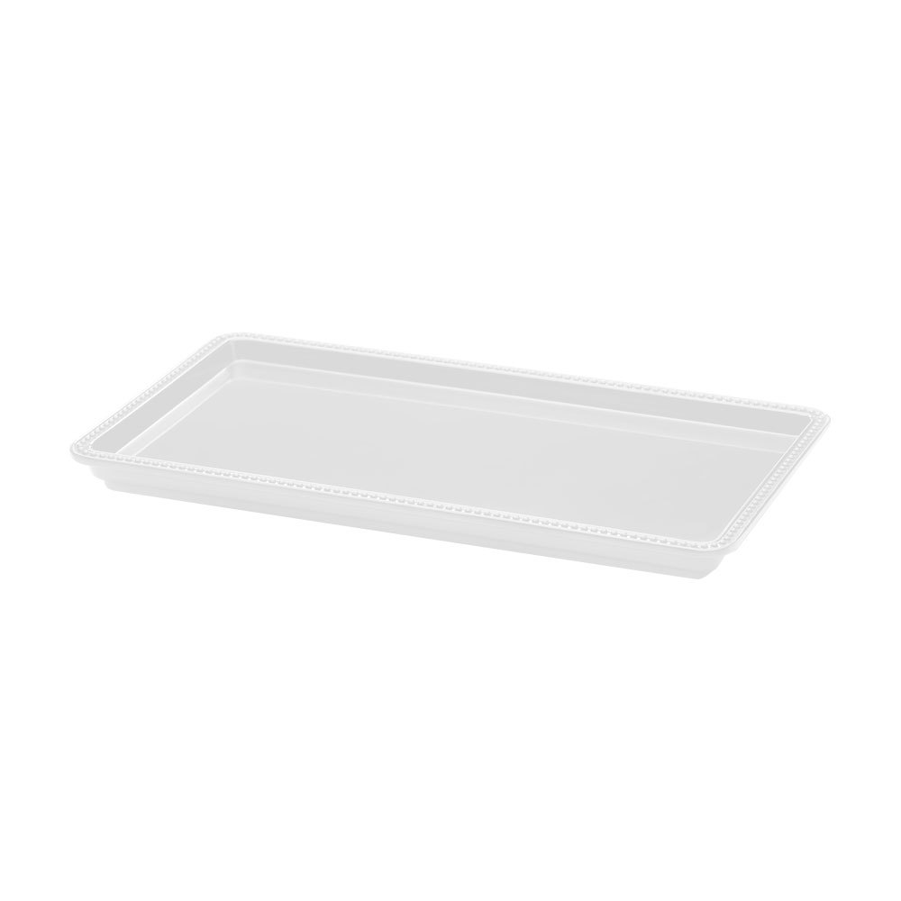"Elite Global Solutions M1561 Venetian Display White 15"" x 6"" x 1"" Rectangular Melamine Tray"