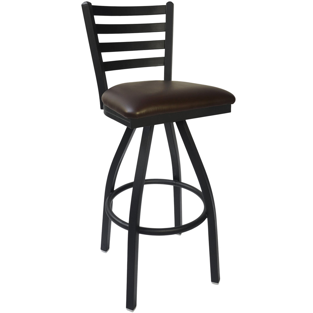 "BFM Seating 2160SDBV-SB Lima Sand Black Steel Bar Height Chair with 2"" Dark Brown Vinyl Swivel Seat"