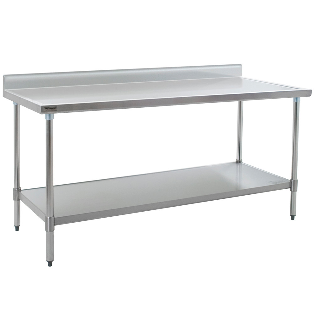 "Eagle Group T3672EM-BS 36"" x 72"" Stainless Steel Work Table with Galvanized Undershelf and 4 1/2"" Backsplash"