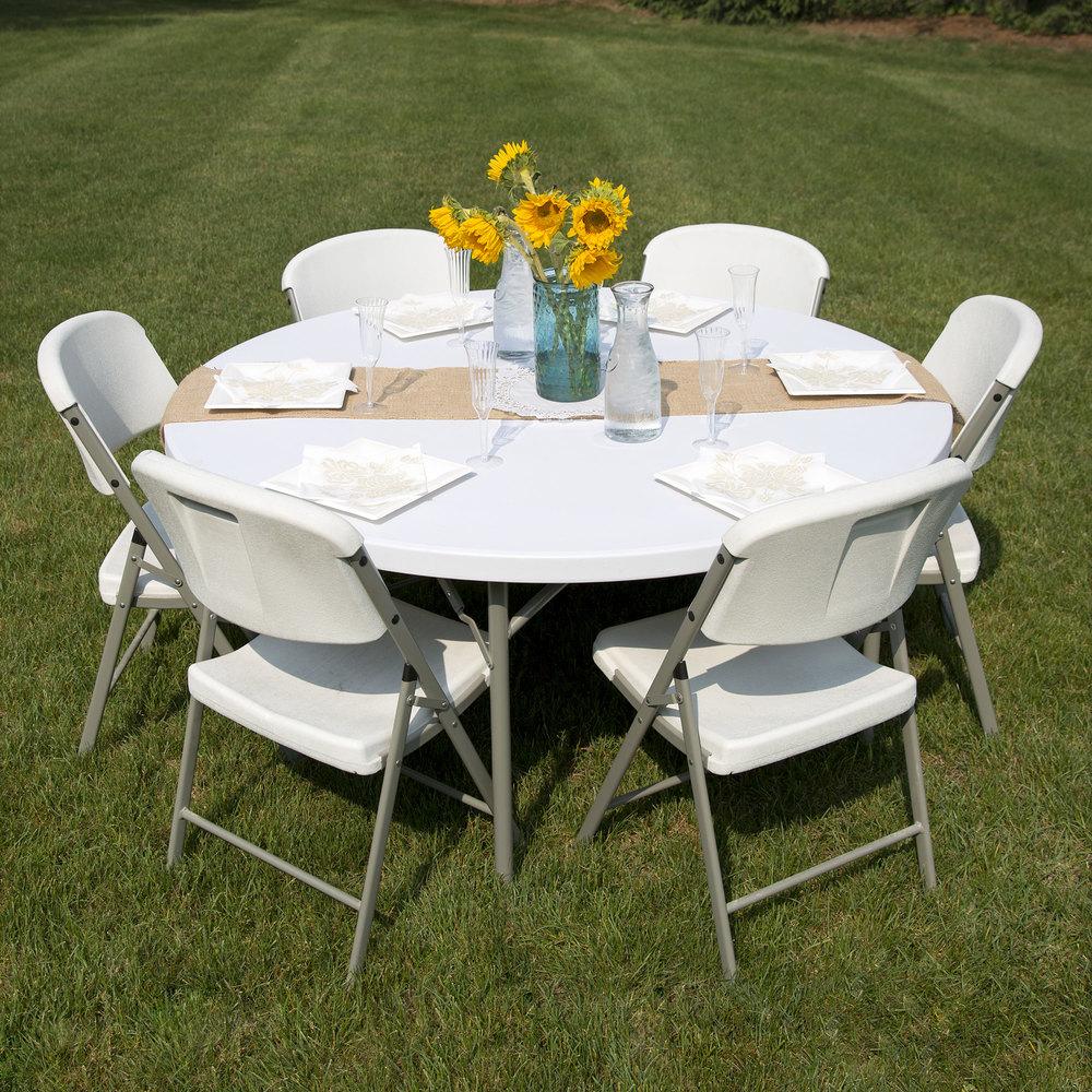 "Table Ronde Bois Blanc: 60"" Round White Granite Plastic Folding Table"