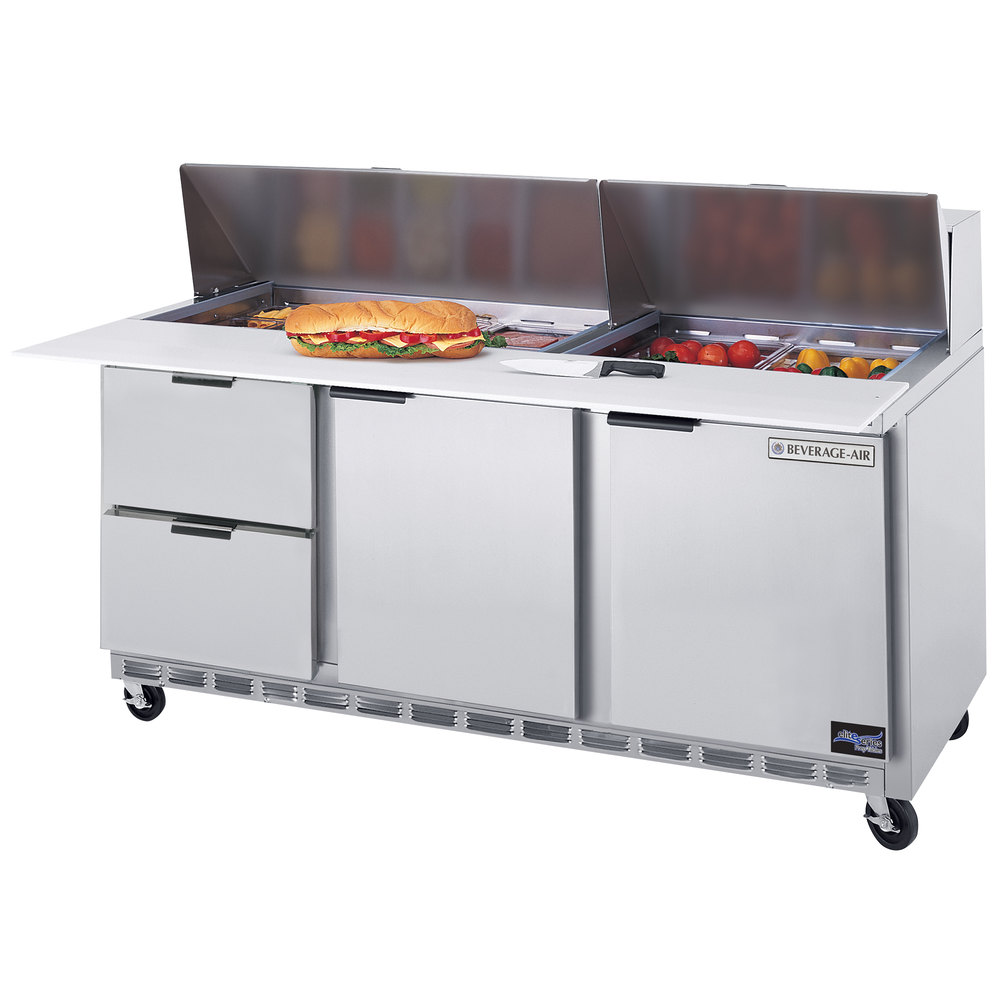 "Beverage-Air SPED72-12C-2 72"" Refrigerated Salad / Sandwich Prep Table with Two Doors and Two Drawers - Cutting Board Top"