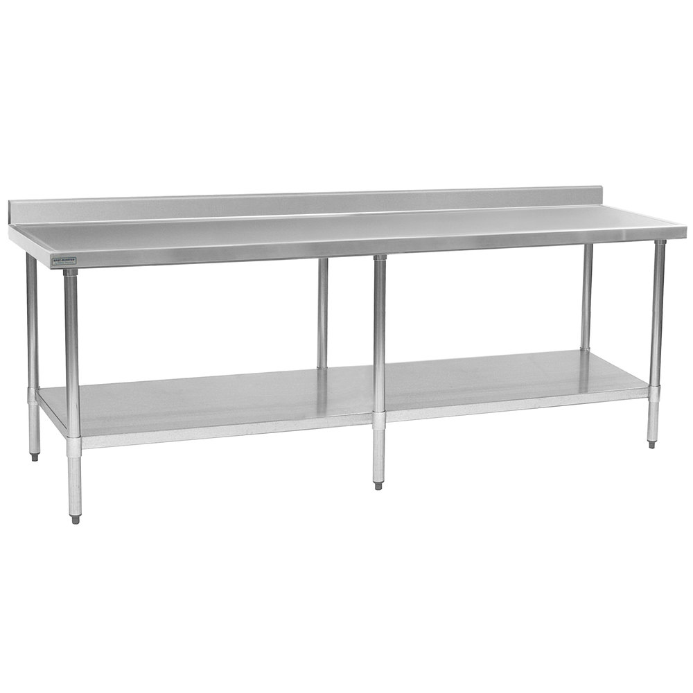 "Eagle Group T30108EM-BS 30"" x 108"" Stainless Steel Work Table with Galvanized Undershelf and 4 1/2"" Backsplash"