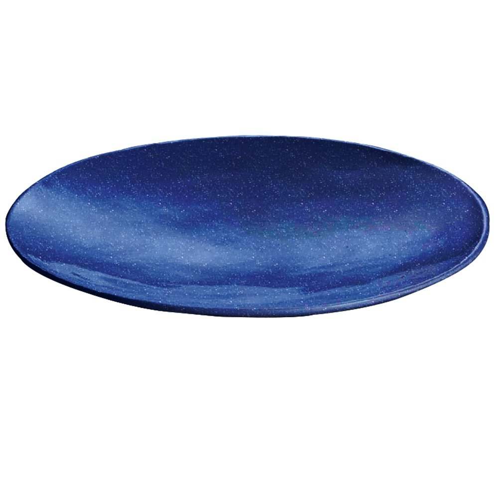 "Tablecraft CW11009BS 20"" x 3 1/2"" Blue Speckle Cast Aluminum Round Flared Platter"