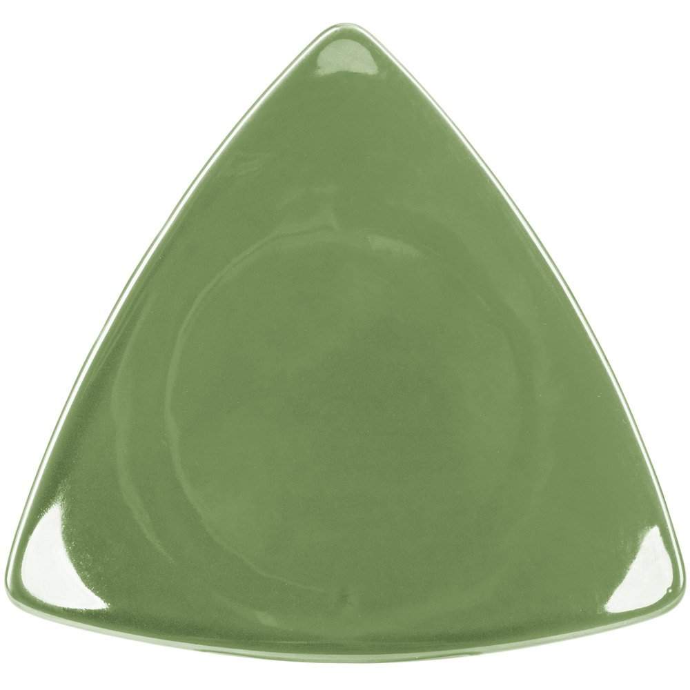 "CAC TRG-23GRE Festiware Triangle Flat Plate 12 1/2"" - Green - 12/Case"