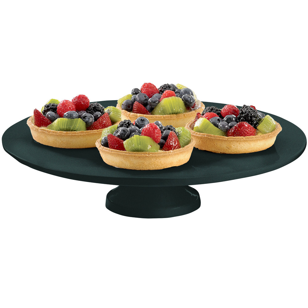 "Tablecraft CW17005BKGS 14"" x 4"" Black with Green Speckle Cast Aluminum Round Platter with Cake Stand"