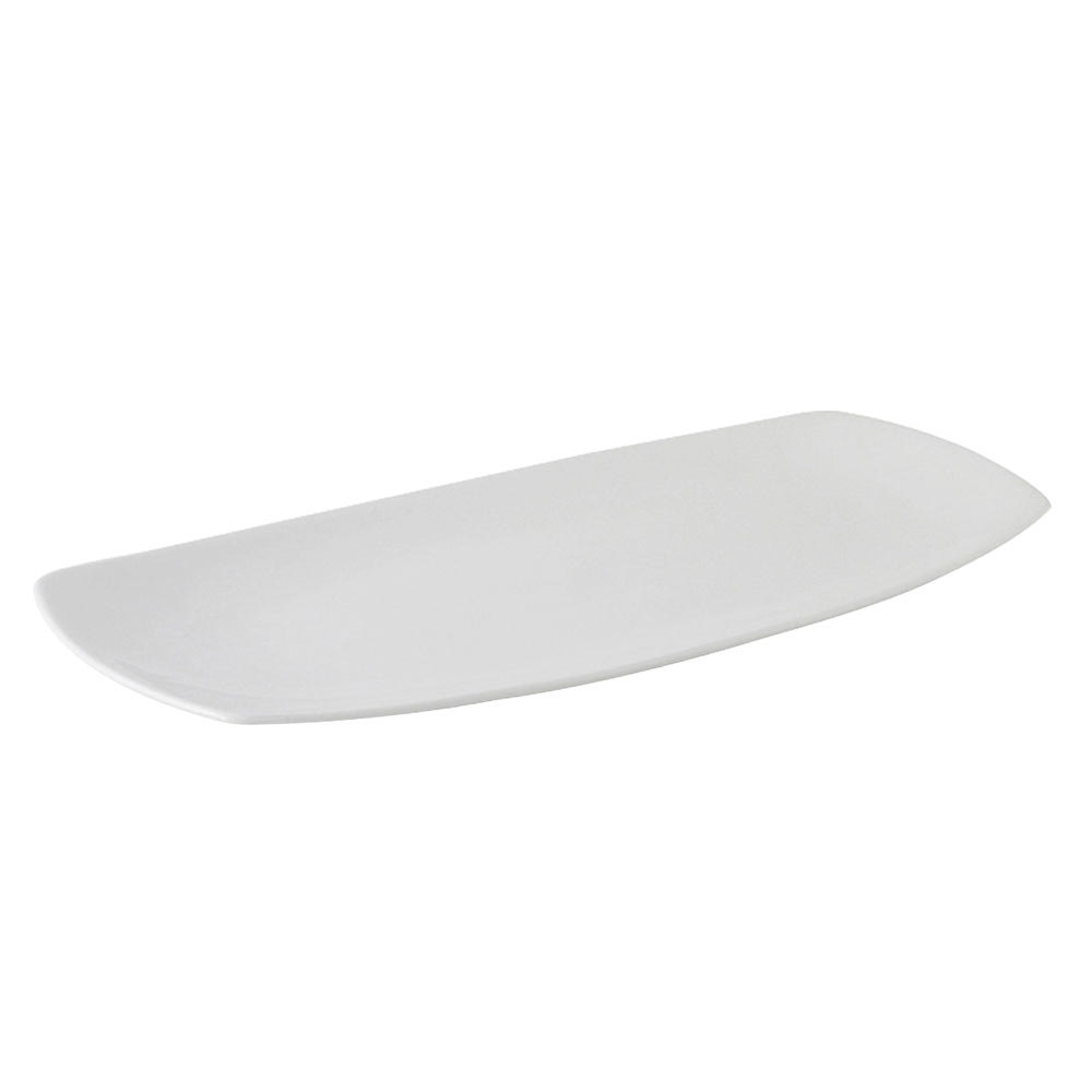 "Tuxton BPH-161H DuraTux Porcelain White 16"" x 8"" Rectangular Plate with Tapered Ends - 12 / Case"