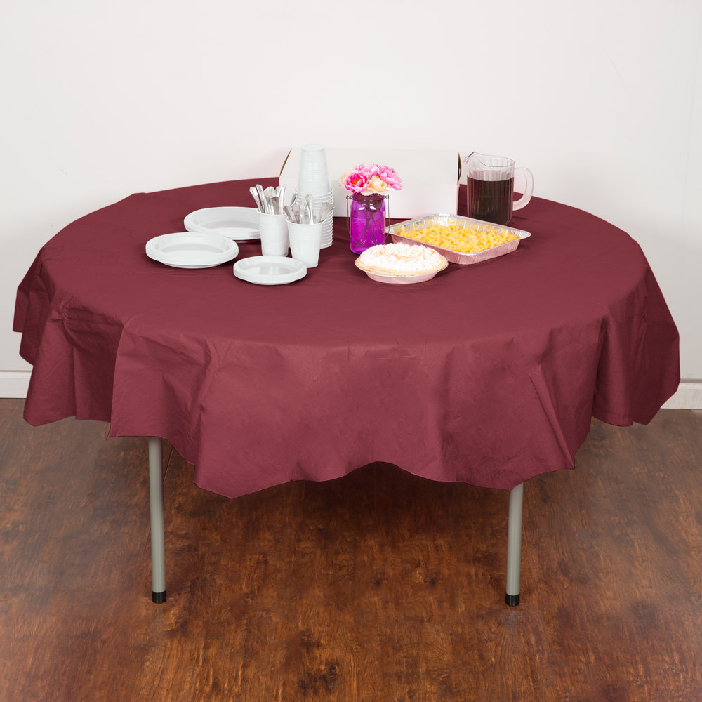 "Creative Converting 923122 82"" Burgundy Tissue / Poly Table Cover"