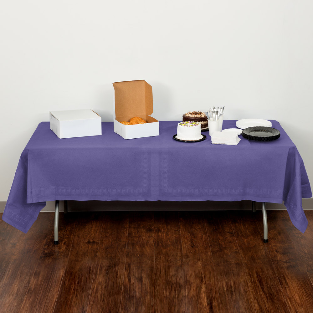 "Creative Converting 710232B 54"" x 108"" Purple Tissue / Poly Table Cover"