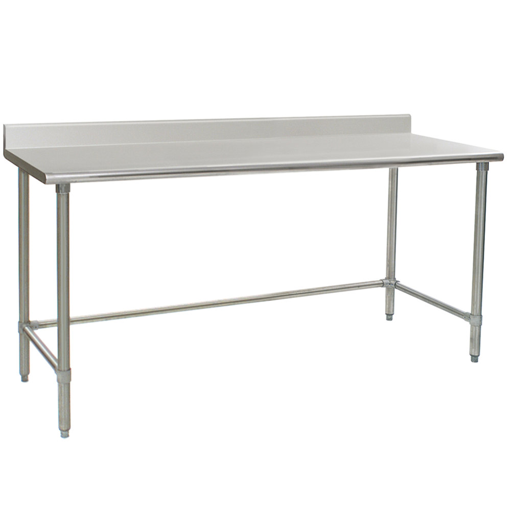 "Eagle Group T3084STE-BS 30"" x 84"" Open Base Stainless Steel Commercial Work Table with 4 1/2"" Backsplash"