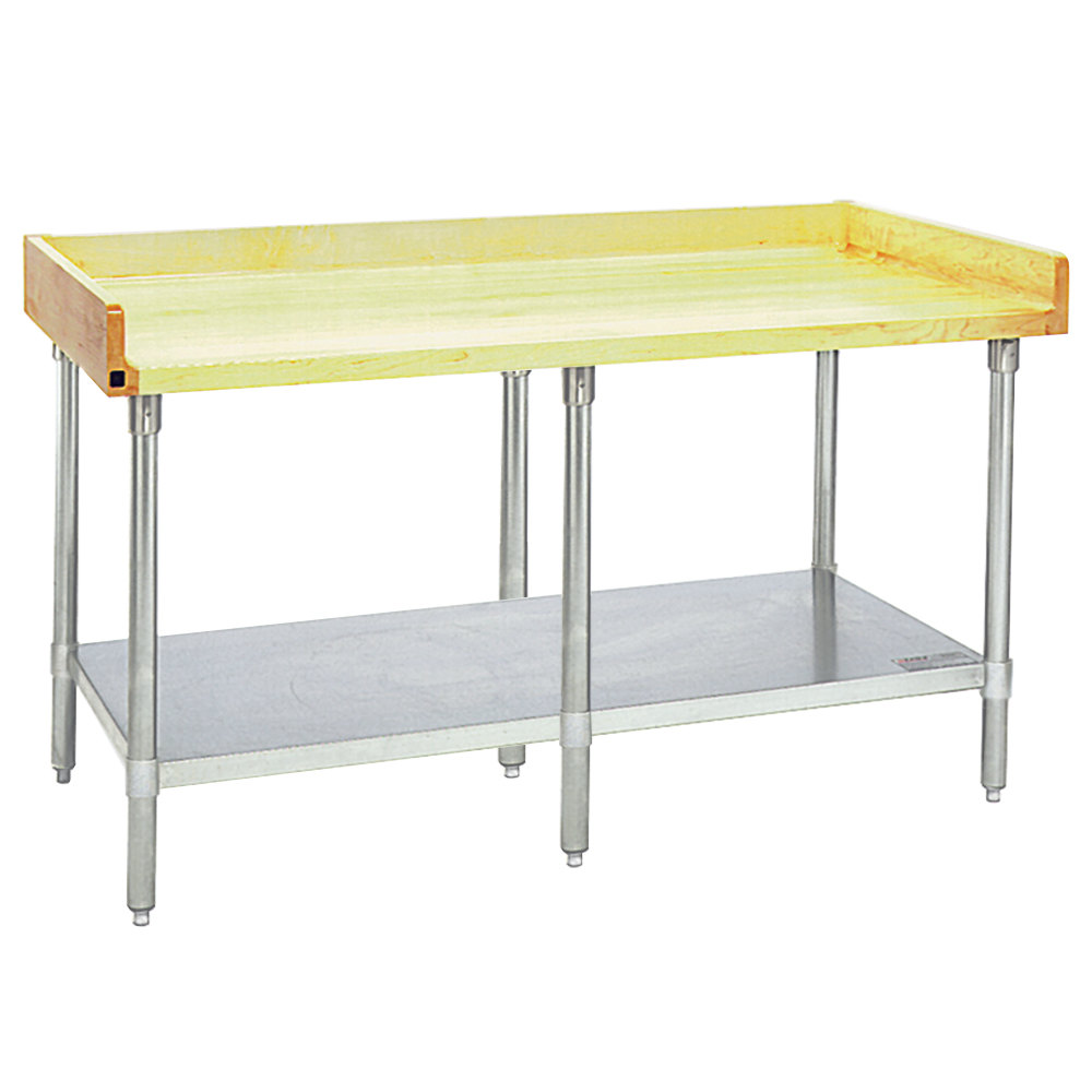 Eagle Group Mt3096s Bs Wood Top Work Table With Stainless