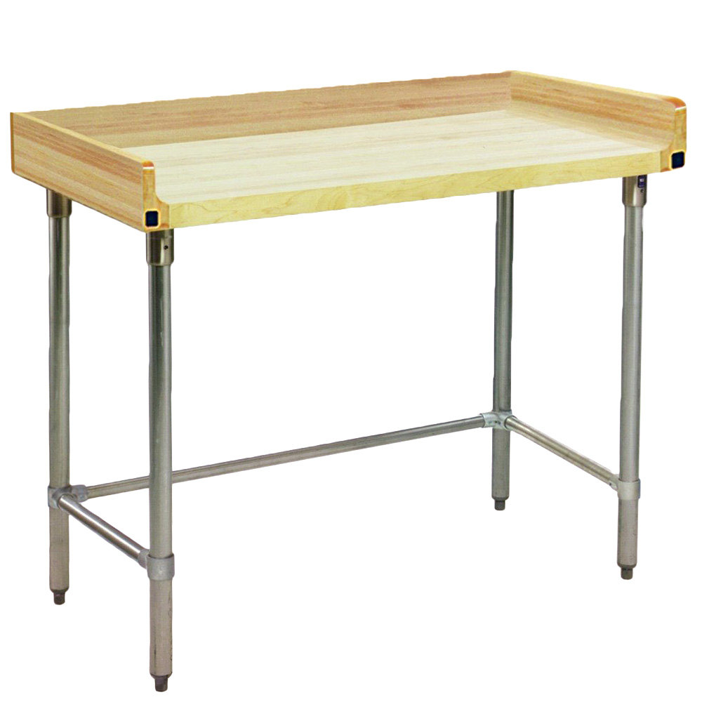 Eagle Group Mt3072st Bs Wood Top Work Table With Stainless