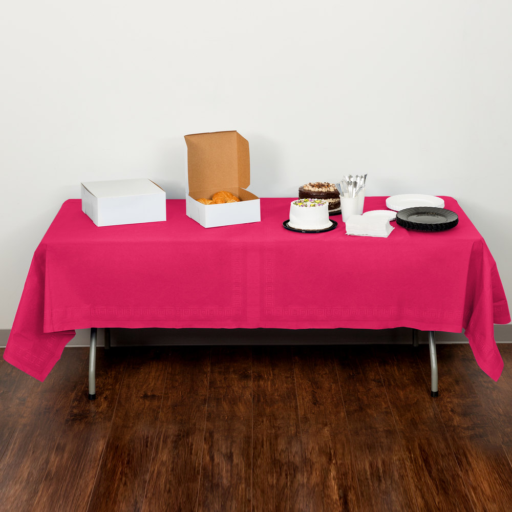 "Creative Converting 710205B 54"" x 108"" Hot Magenta Pink Tissue / Poly Table Cover"