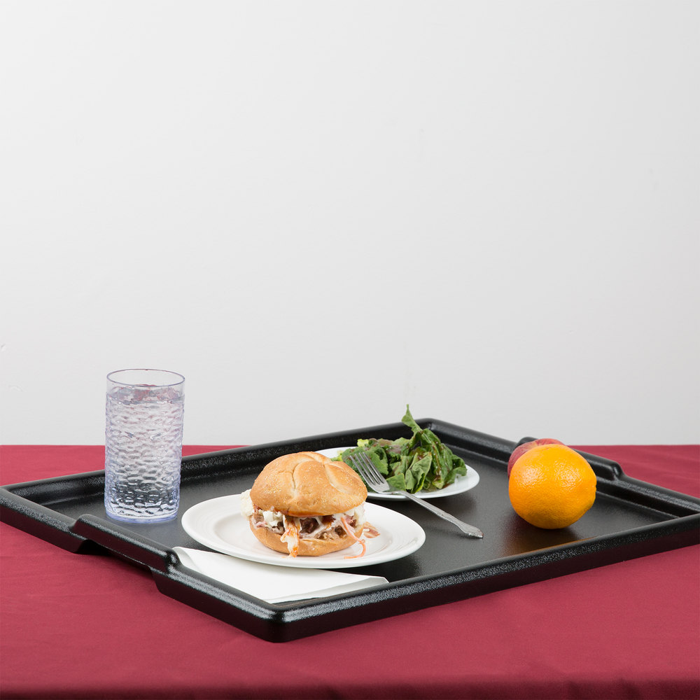 "Cal-Mil 354-1-13 24"" x 18"" Black Room Service Tray"