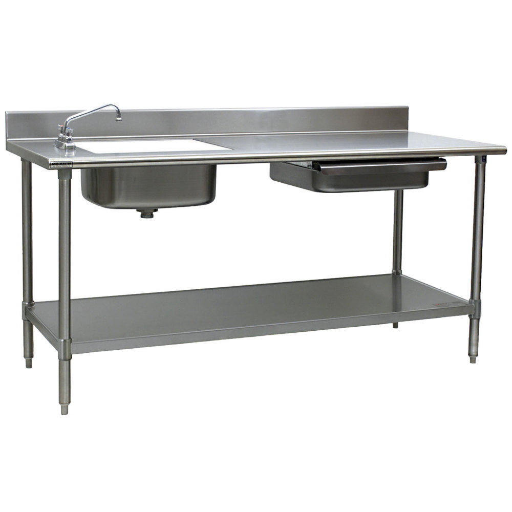 eagle group pt 3072 stainless steel prep table with sink, drawer
