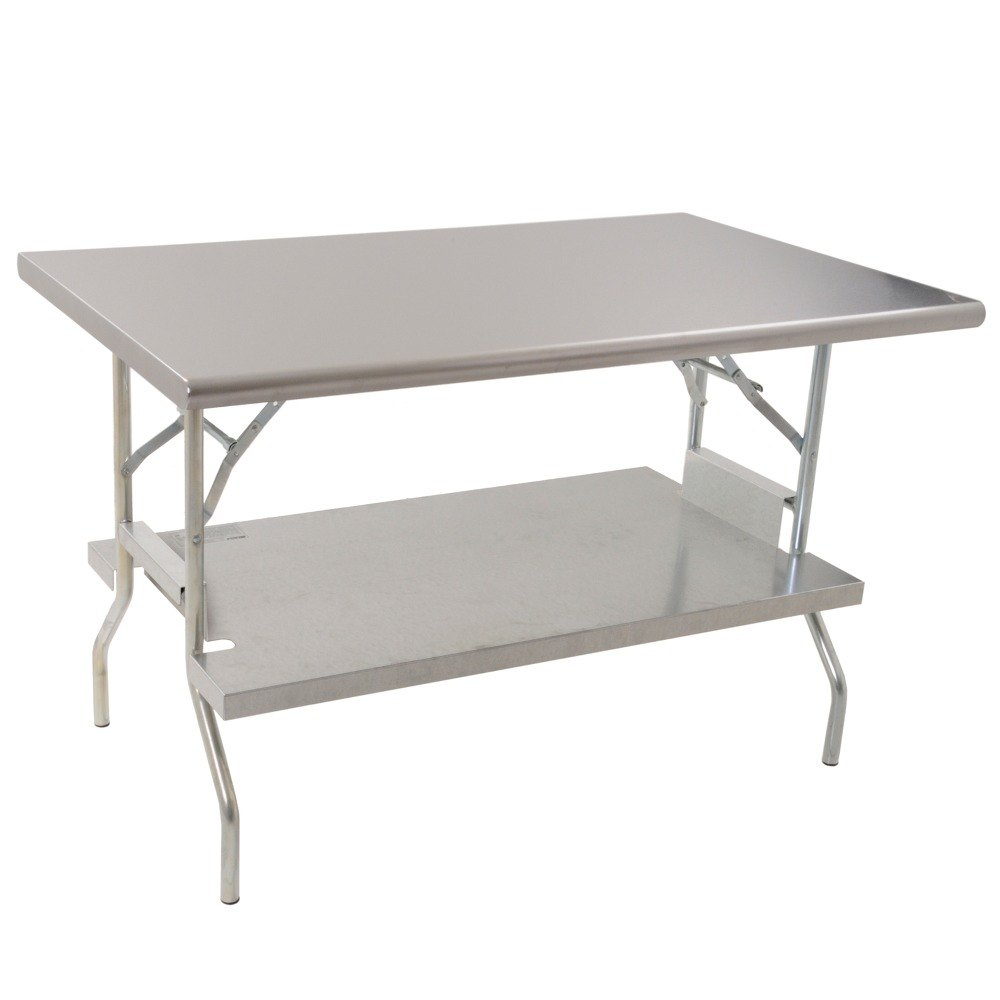 "Eagle Group T2460F-US 24"" x 60"" Stainless Steel Lok-n-Fold Open Base Table with Removable Galvanized Undershelf"