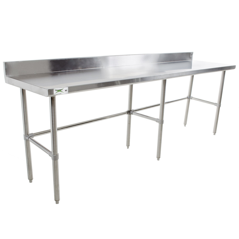 regency 24 x 108 16 gauge 304 stainless steel commercial open base work table with 4 backsplash