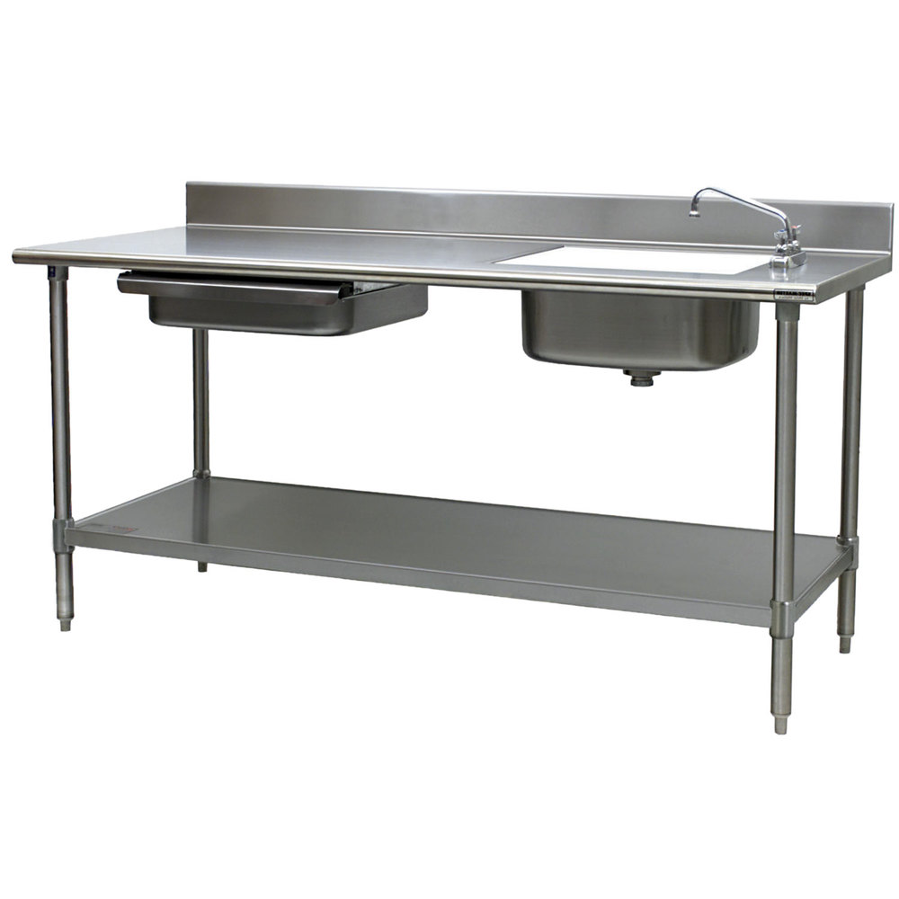 eagle group pt 3084 stainless steel prep table with sink, drawer