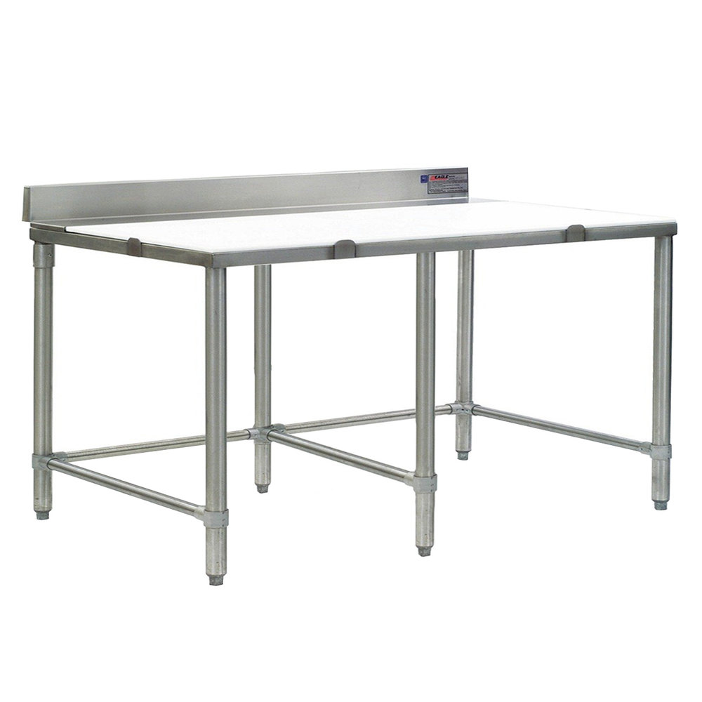 "Eagle Group CT3084S-BS 30"" x 84"" Poly Top Stainless Steel Cutting Table - Open Base"