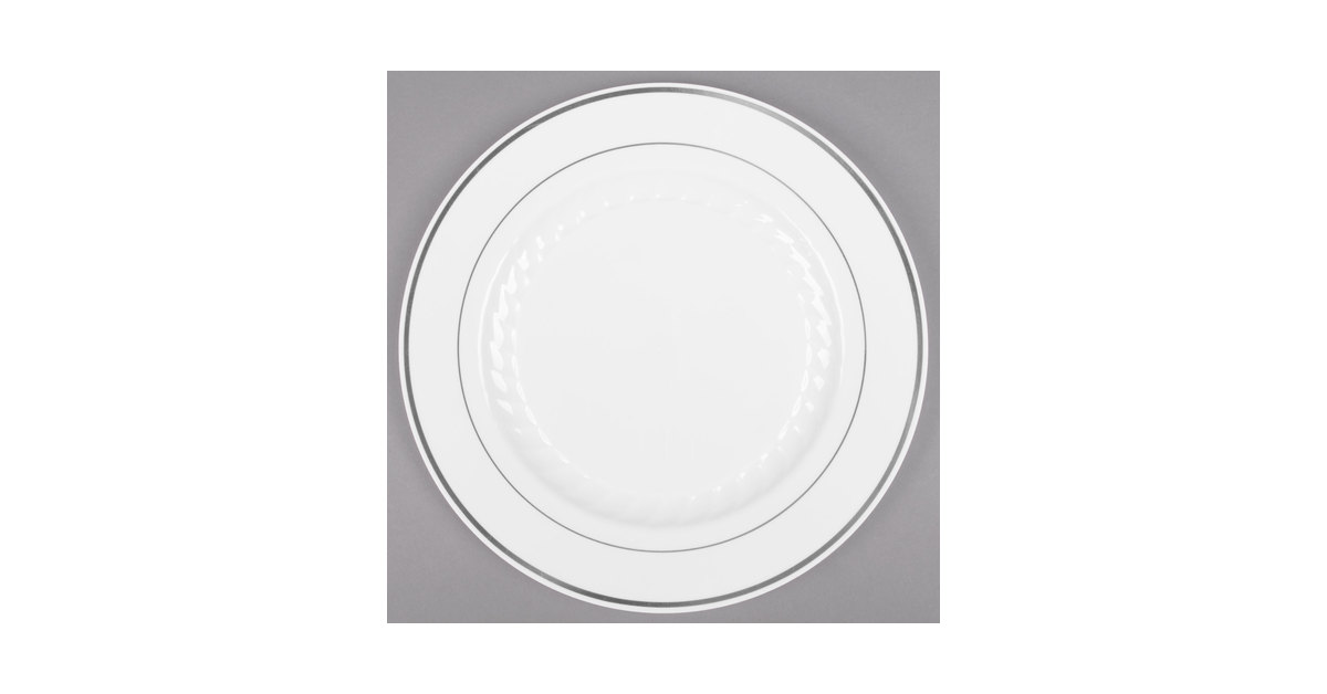 WNA Comet MP75WSLVR 7 1/2\  White Masterpiece Plastic Plate with Silver Accent Bands - 150/Case  sc 1 st  WebstaurantStore & WNA Comet MP75WSLVR 7 1/2\