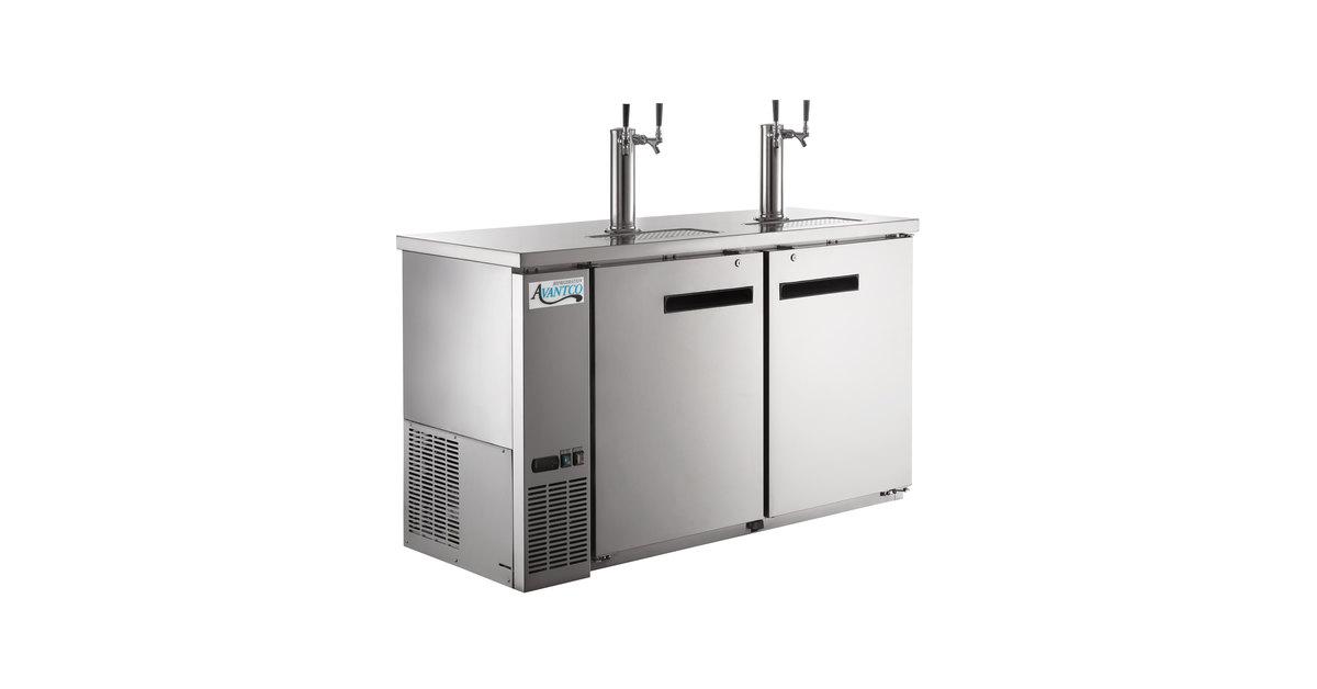 Avantco UDD-60-HC-S (2) Double Tap Kegerator Beer Dispenser - Stainless  Steel, (2) 1/2 Keg Capacity