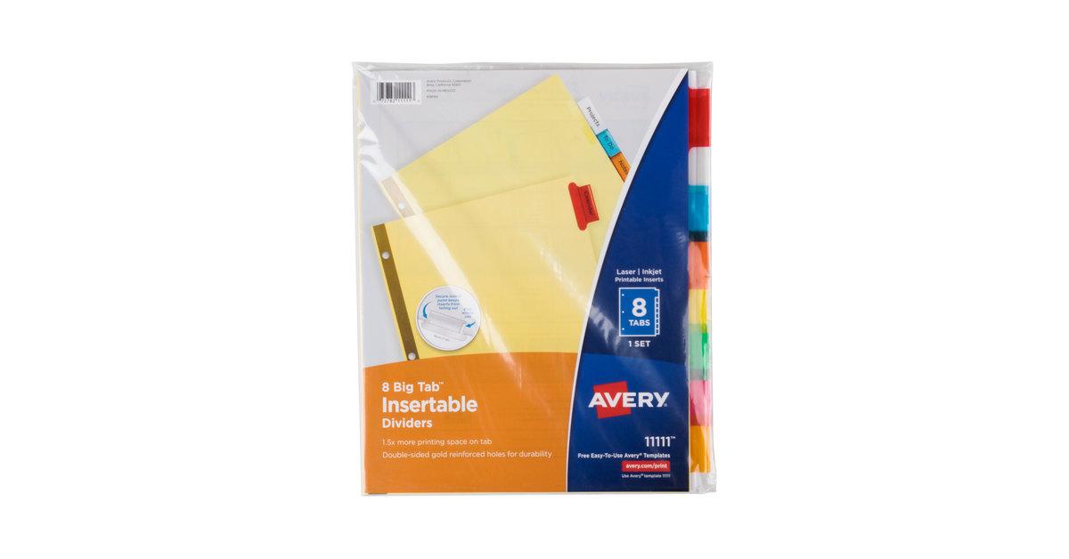 Avery 11111 big tab buff paper 8 tab multi color insertable dividers saigontimesfo
