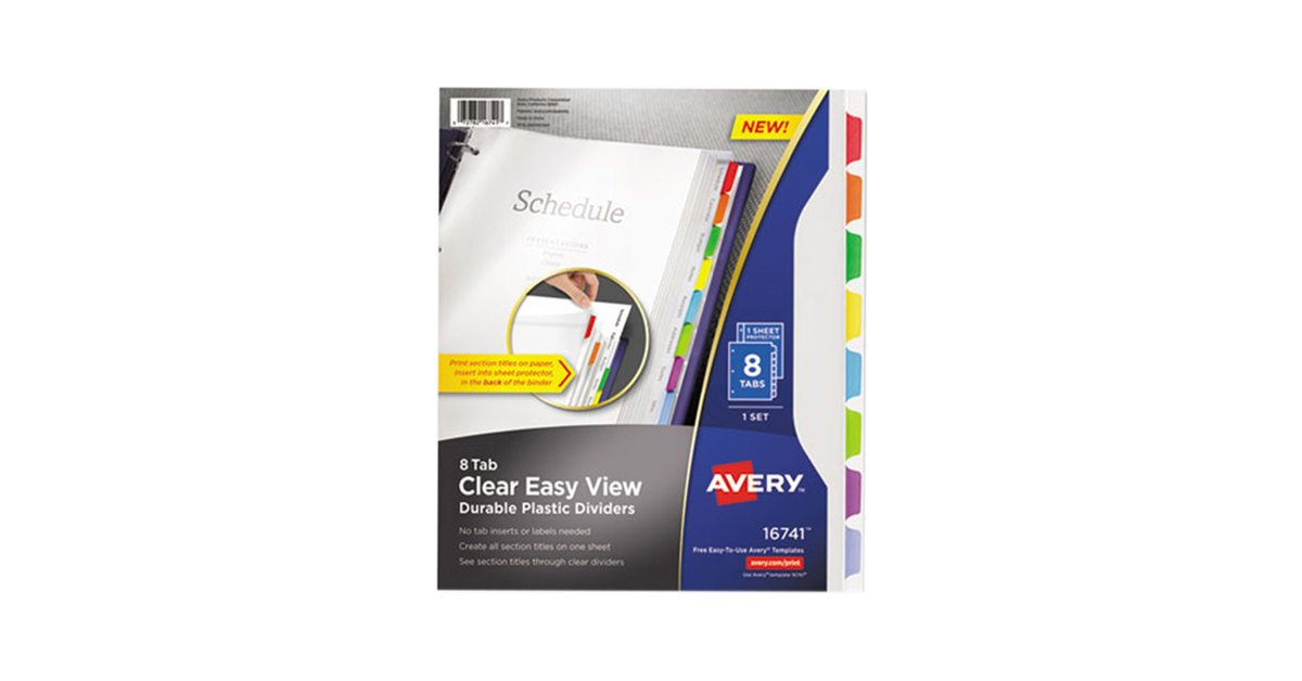 Avery Clear Easy View Durable Plastic Dividers 8 Tabs 16741 ,Multicolor