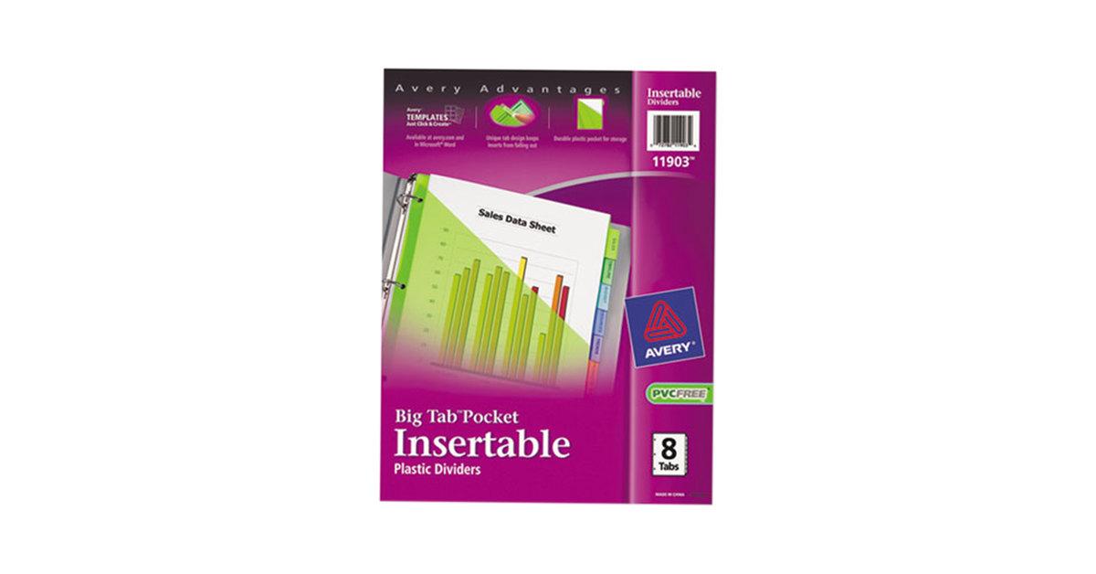 Avery 11903 Big Tab 8 Tab Insertable Multi Color Plastic Dividers
