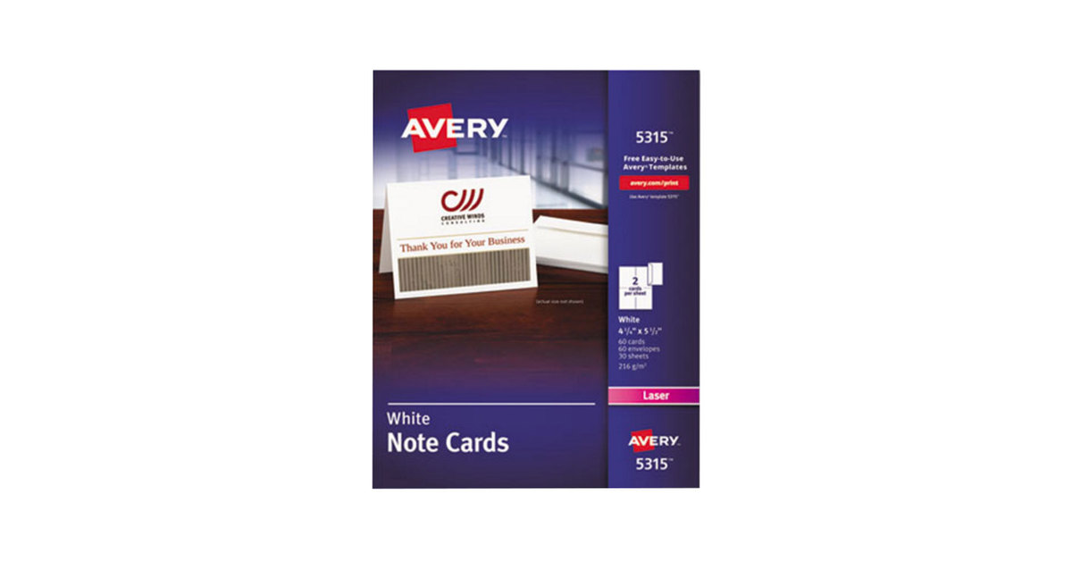 Avery Laser Note Cards 4 14 X 5 12 White Box Of 60 By Office Depot