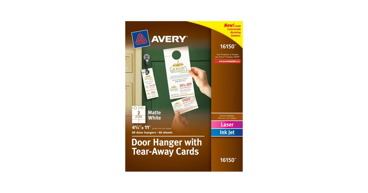 Avery 16150 4 14 X 11 Printable Door Hanger With Tear Away Cards