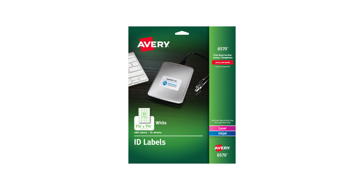 Avery 6570 1 14 X 1 34 White Permanent Id Labels 480pack