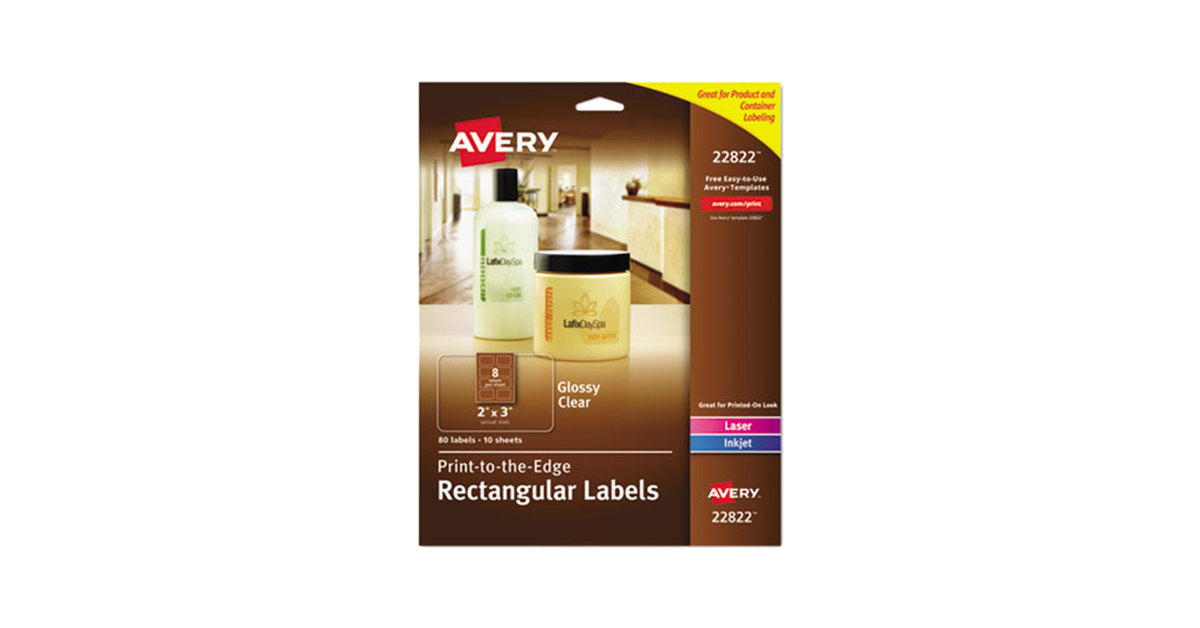 avery 22822 easy peel 2 x 3 clear glossy rectangular print to the edge labels 80pack