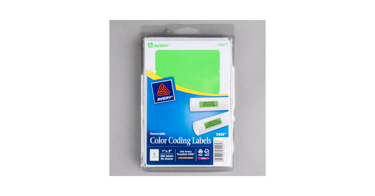 Avery 05494 1 X 3 Neon Green Rectangular Removable Write On