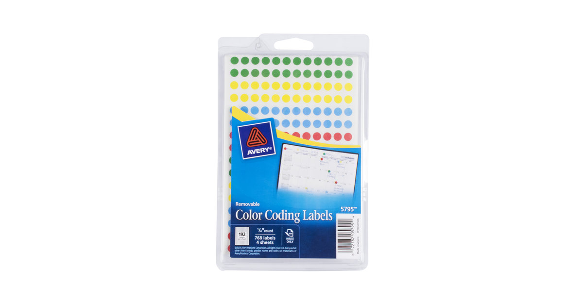 avery ave05795 14 assorted colors round removable write on color coding labels 768pack - Avery Colored Labels