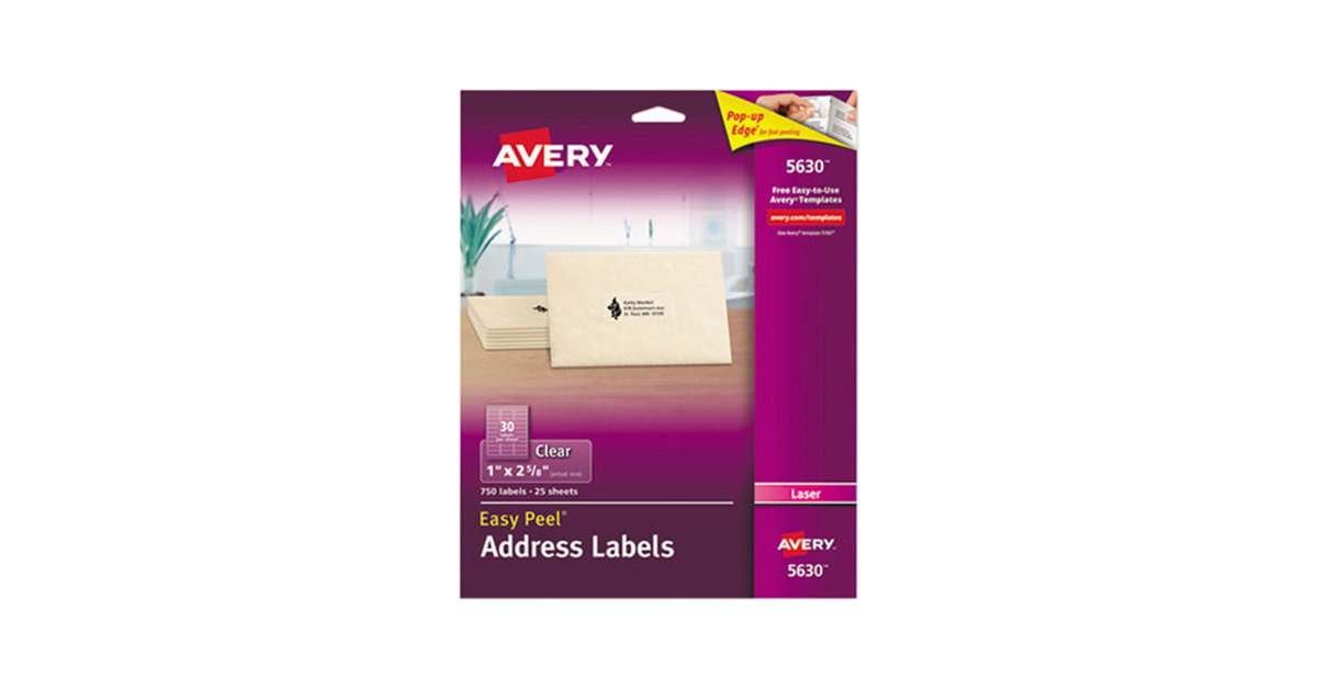 Avery 5630 1 x 2 58 easy peel clear mailing address labels 750pack maxwellsz